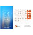 april 2019 desk calendar for 2019 year design vector image vector image