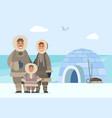 arctic family people igloo man woman and kid vector image