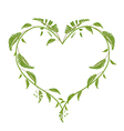 Beautiful Green Vine Leaves in A Heart Shape vector image vector image