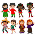 boys and girls in traditional costumes vector image vector image
