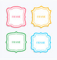 classic frames in line style and different colors vector image vector image