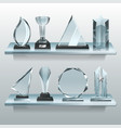 collections of transparent trophies awards and vector image vector image