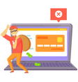 ddos attack on website man hacker stand near big vector image