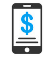 dollar mobile wallet flat icon vector image vector image