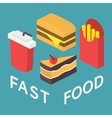 Fast food 3d isometric flat set vector image