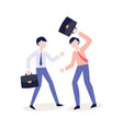 flat office workers swinging their briefcase vector image