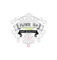 flower tea vintage stylized lettering badge vector image vector image