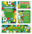 football match sport event banner of soccer league vector image