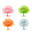 Four stylized trees representing different seasons