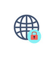 globe with lock icon vector image