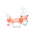 hand drawing fox with watercolor vector image vector image