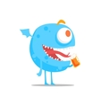 Happy Blue Round Monster With Wings Drinking Beer vector image vector image