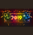 happy new year 2019 gold and black colors place vector image vector image