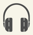 headphones solid icon headset vector image