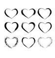 heart shape frames collection makeup mascara vector image vector image