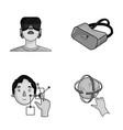innovation man head hand virtual reality set vector image vector image