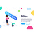 isometric voice message concept woman listens to vector image vector image