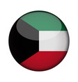 kuwait flag in glossy round button of icon kuwait vector image