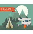 Mountain Park Camping with RV Traveler Truck vector image vector image