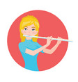 musician playing flute girl flutist is inspired vector image vector image