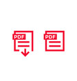 pdf document download file icons vector image