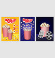 popcorn cinema box banner set realistic style vector image vector image