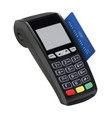 pos terminal with card isolated paying with vector image