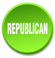 republican green round flat isolated push button vector image vector image
