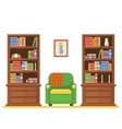 room interior with two bookcases and armchair vector image vector image