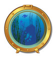 round porthole of a submarine with views of the vector image vector image