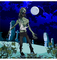 scary zombie cemetery at night vector image vector image