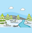 scene with seals in winter time vector image vector image