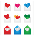 set envelop with paper hearts inside vector image vector image