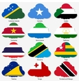 Set Flags of world sovereign states in form clouds vector image vector image
