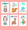 set of spring cards with forest animals and vector image