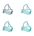 Set of stickers sailing ship on white background vector image vector image
