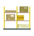 Shelf with Cartoon Box vector image