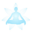 silhouette of woman in lotus pose - meditation vector image