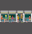 some hipster people take the subway vector image