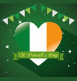 st patrick party banner with heart ireland flag vector image