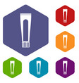 toothpaste tube icons set hexagon vector image vector image