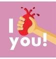 Unusual creative valentine card Heart is in an arm vector image