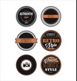 vintage labels black and orange set 3 vector image vector image