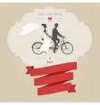 Vintage wedding invitation with tandem bicycle vector image vector image