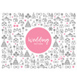wedding line icons pattern vector image vector image