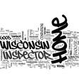 wisconsin home inspector text word cloud concept vector image vector image