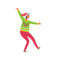 woman in sweater reindeer dressed in pink trousers vector image vector image