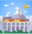 mountain landscape with aqueduct and railway vector image