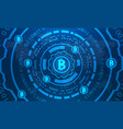 bitcoins with hud elements binary world map btc vector image