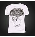 T-shirt print design with hand-drawn mehendi vector image